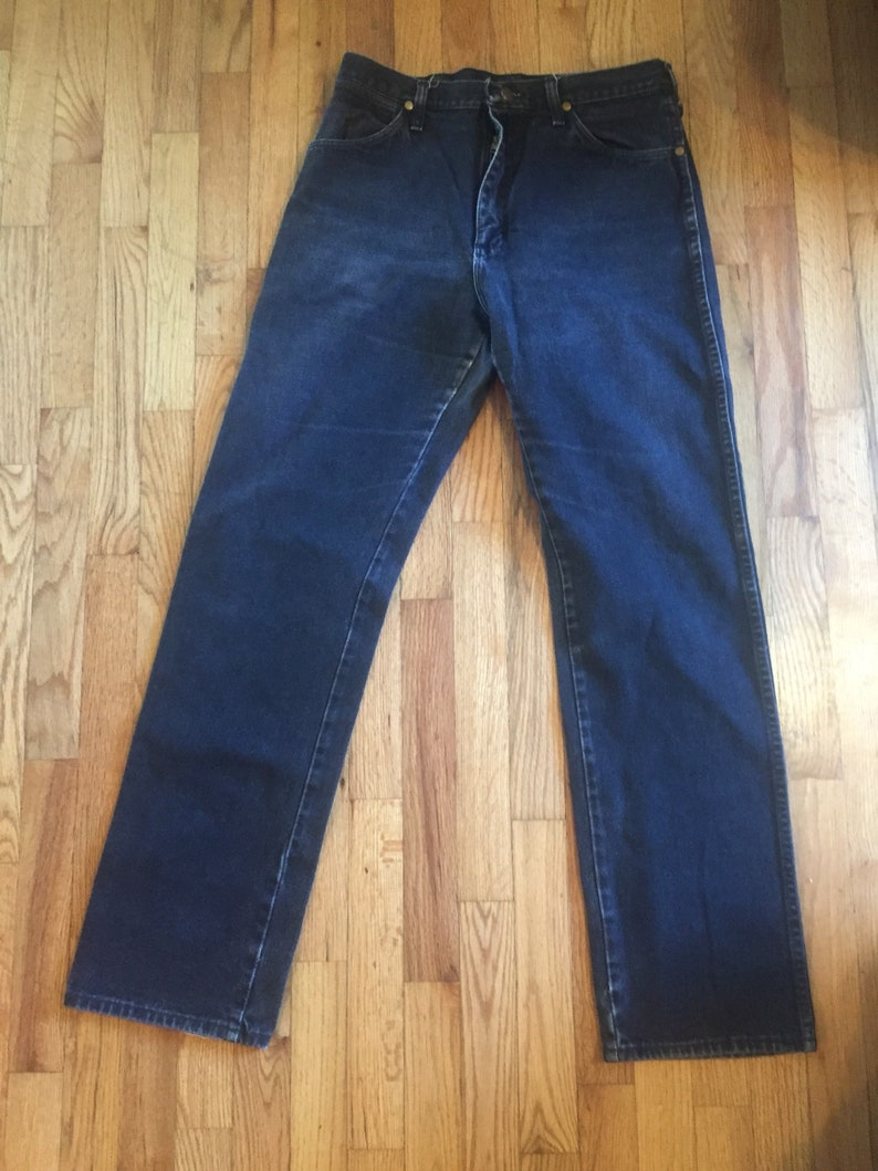 5986bab7 Vintage Wrangler Men's Dark Black Denim Jeans Boot Cut | Etsy