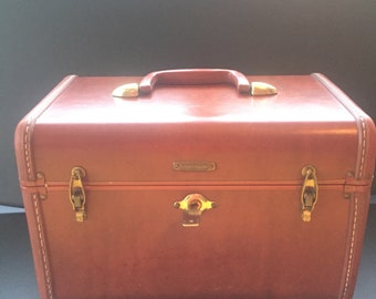 Vintage Samsonite Brown Leather Cosmetic Bag Train Case Carry-On Tote Luggage with Lock and Key