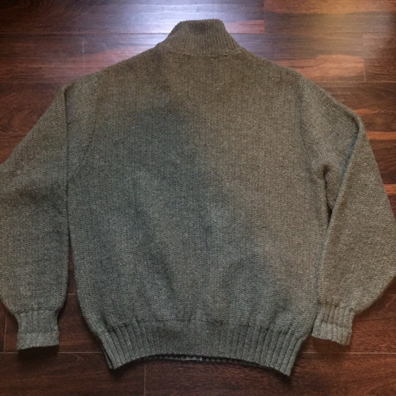 Bean Knit Wool Green Gray Cardigan Zip Up Sweater Men/'s Medium Large Made in the United States Vintage L.L