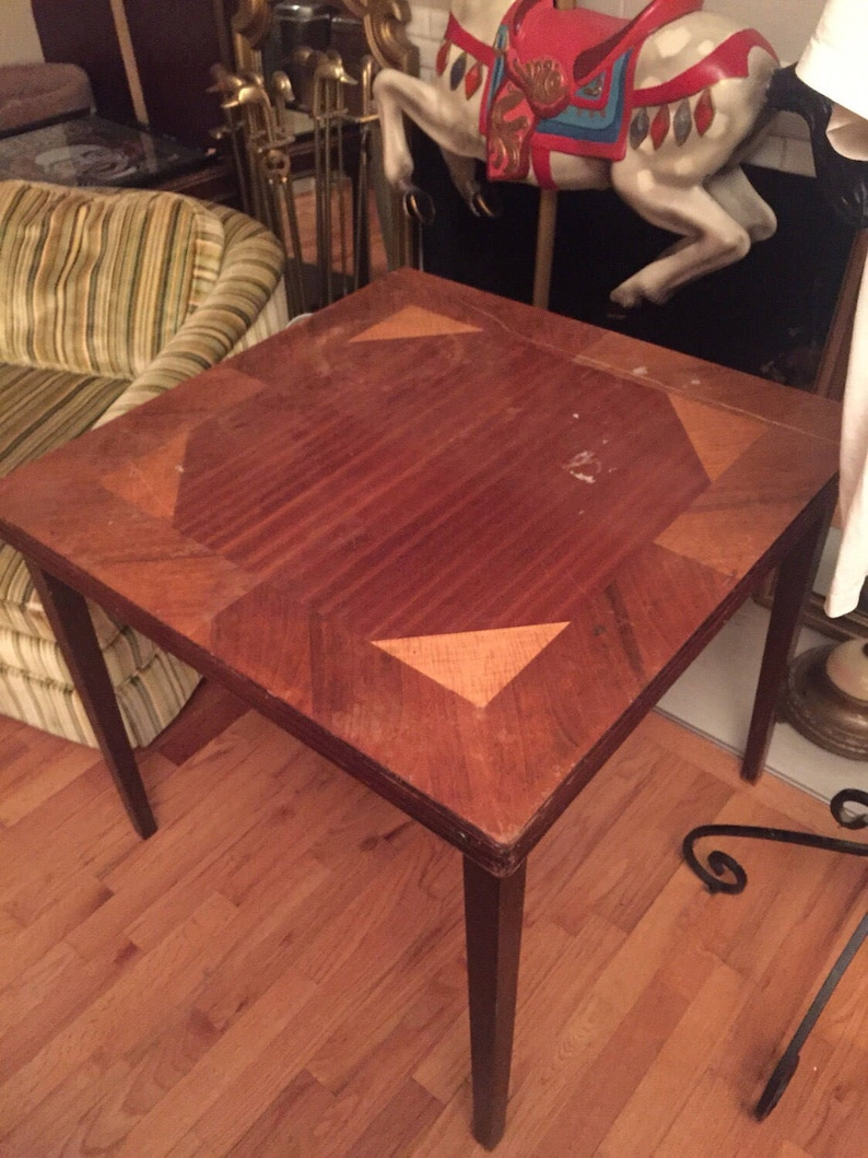 Mid Century Art Deco Square Inlaid Wood Folding Card Table 30 X 30