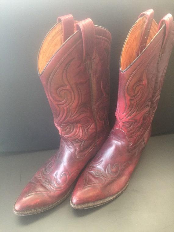 Vintage poste Dan rouge et brodé noir brodé et taille cuir bottes Cowboy Western hommes D 10 e3d874