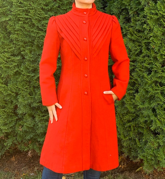 Vintage Retro Red Wool Pea Coat Women's Size Mediu