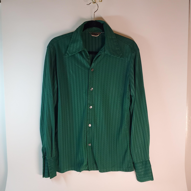 bd88f7cb0a8c7 Triumphant California Vintage Green Long Sleeve Button Up Dress Shirt Men's  Size Medium