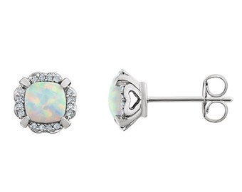 14K Gold Opal Earrings with Diamonds / Opal Earrings Stud