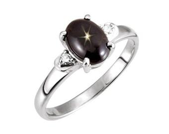 Black Star Sapphire Ring Sterling Silver / Genuine Black Star Sapphire Ring / Star Sapphire Jewelry