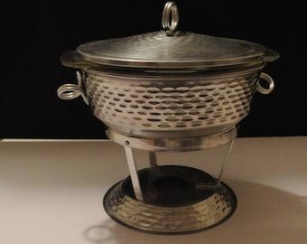 Tealight - hammered aluminum - Fire King - vintage