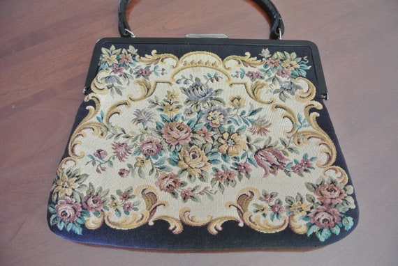 purse - fabric tapestry - antique