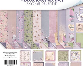Delicous Recipes Scrapbooking paper Set/Die cut/ NOT DIGITAL/ Scrapbooking Paper/ Card Embellishment/recipe handmade books