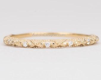 a2f0d84da84 Milgrain Filigree Diamond Ring 14K Gold Thin Wedding Band Half Eternity  Stacking Rings Stackable Engagement Handmade Anniversary AD1450
