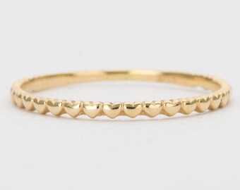 ee9e72c15 Mini Hearts Solid 14K Gold Ring Heart Dainty Thin Wedding Band 3/4 Eternity  Stacking Rings Stackable Unique Engagement Christmas Gift AD1124