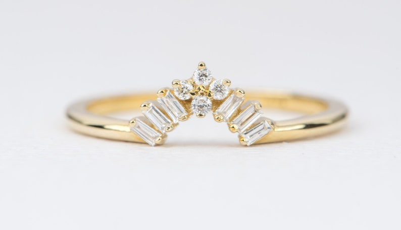 Three Baguette Diamond Ring Crown Wedding Band 14K Gold Unique image 1