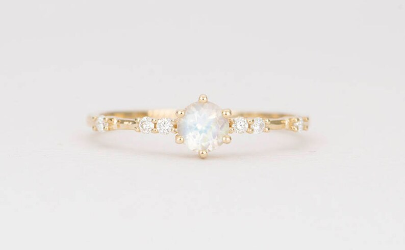 0f5896ccc05c0 Rainbow Moonstone Engagement Ring 14K Gold Faceted 4mm Round Diamond Ring  Prong Cluster Wedding Stacking Rings Stackable Unique Gift AD1377