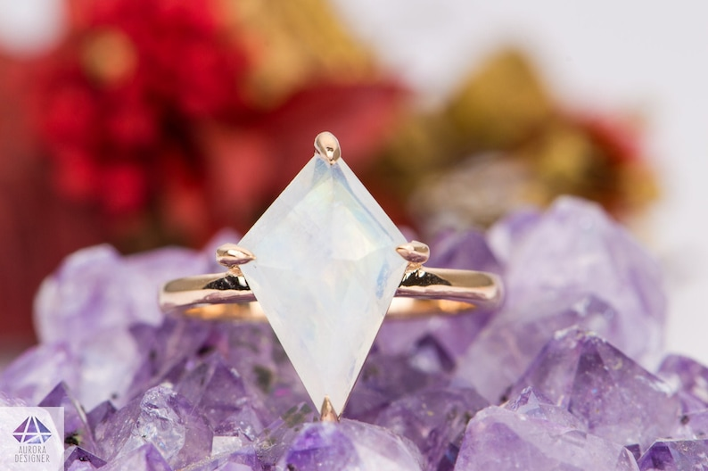 3.55ct Shield Kite Shape Rainbow Moonstone Engagement Ring 14K Rose Gold Solitaire Rustic Rose Cut Rosecut Claw Prongs Wedding AD1686-10