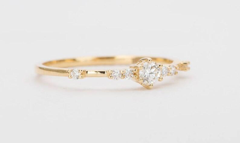 8e769c52e7fc2 Diamond Engagement Ring Cluster 18K Gold Wedding Band 7 Diamonds Dainty  Feminine Modern Stacking Rings Stackable Unique Handmade AD1334