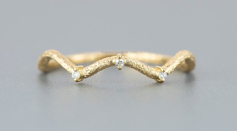 Wave Ring 18K Gold with Three Diamonds and Heavy Texture Glitter Finish Sandblast Unique Wedding Band Stacking Rings Stackable Rose AD1641