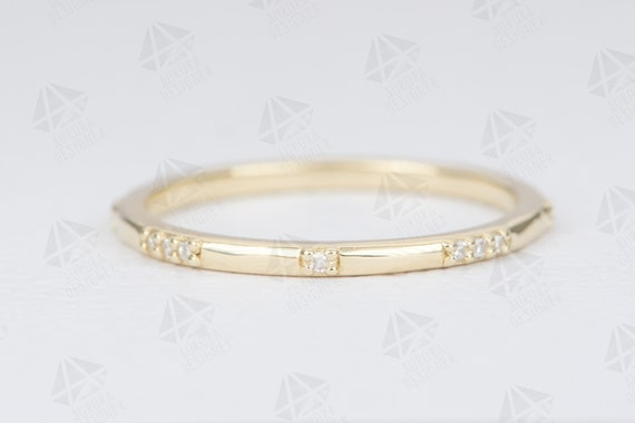 Constellation Diamond Ring 18K Gold Wedding Band Engagement Stacking Rings Stackable Minimalist Thin Anniversary Birthday Gift 1mm AD1162