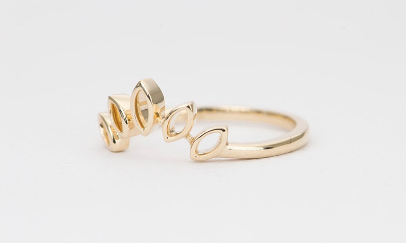 Marquise Crown Ring Solid 14K Gold Unique Wedding Band Hollowed Marquise Curve Tiara Stacking Nesting Rings Enhancer Guard AD1402