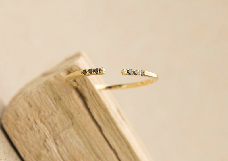 Black Diamond Ring Open End Stacking Rings 14K Gold Cuff Thin Wedding Band Knuckle Stackable Rings Christmas Gift for Her Handmade AD1102B