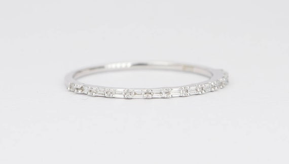 Baguette Wedding Band.Baguette Diamond Ring 18k Gold Thin Wedding Band Dainty Half Eternity Stacking Rings Stackable Engagement Set Unique Ring Christmas Ad1374 2