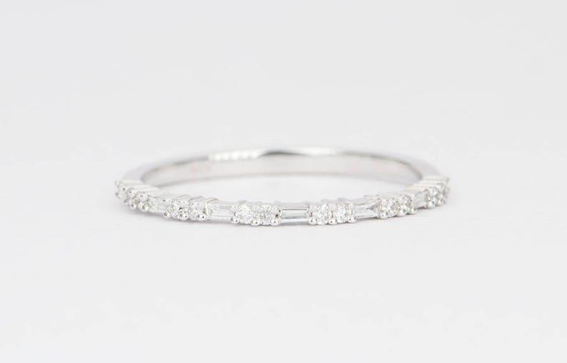 49e176a3b1c Baguette Diamond Ring Round Cut Alternating Half Eternity 14K