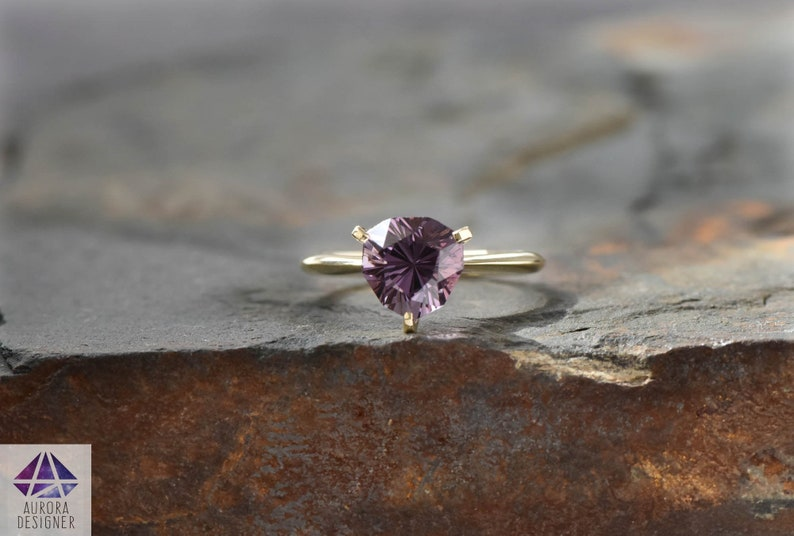 2.9ct Royal Purple Spinel 14K Yellow Gold Engagement Ring image 0