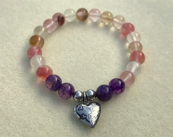 Multicolored Agate Stretch Bracelet with Heart Locket Charm