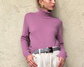 90s cashmere turtleneck sweater   dusty rose cashmere sweater   mauve 100% 2  ply cashmere pullover turtleneck  5835b2cbb