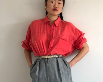 1f2b41f8 90s silk pocket shirt / vintage coral oversized tissue thin silk button  down shirt blouse / salmon pink sand washed silk blouse | L