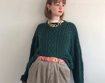 42af6b780c 80s cotton ramie cable knit oversized sweater   forest green cotton rolled  neck sweater   hunter green boyfriend crewneck sweater