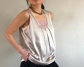 9a35fc586d78 90s silk charmeuse sleeveless blouse tank / champagne scoop neck liquid silk  satin charmeuse oversized sleeveless tank | L
