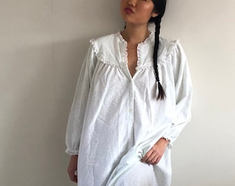 80s Lanz flannel nightgown white eyelet trim   white + seafoam flannel  ankle length long night dress gown   cotton flannel oversized pajamas f9c976b9d