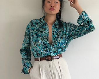 51fceca7a9e6cc 90s silk charmeuse blouse / vintage sea glass teal blue swirl print liquid silk  charmeuse satin oversized shirt blouse | S M L