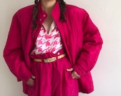 90s silk tracksuit pant suit vintage fuchsia hot pink silk oversized track suit set quilted jacket high waisted pants XS S M
