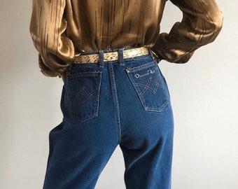 1980/'s Rockabilly Jeans Vintage Western Denim Designer Lew Magram High Rise Embroidery Trim 30 High Waist