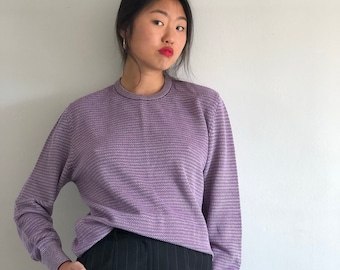 9d1f7854d7 90s oversized cotton sweater   Italian lavendar cotton waffle knit crewneck  sweater   pure cotton sweater made in Italy