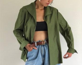 984666d1de94ac 90s Ellen Tracy silk blazer   vintage Ellen Tracy olive silk open front  blazer jacket