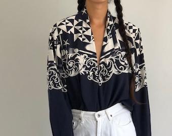 80s Carlisle navy blue   white silk crepe plunging neckline wrap blouse    vintage silk wrap blouse   navy printed silk blouse  5a597ec58