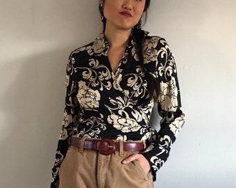 d41296b93223f7 90s silk charmeuse wrap blouse   black beige floral silk wrap front blouse  collared shirt   vintage silk wrap blouse