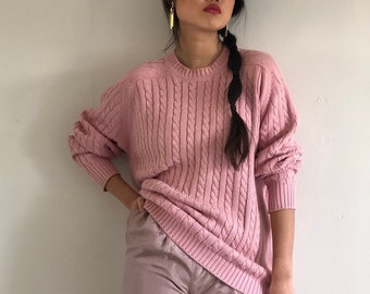 5f3cb82da 80s Pringle cotton cable knit sweater   vintage Pringle pale pink cotton oversized  cable knit boyfriend crewneck sweater