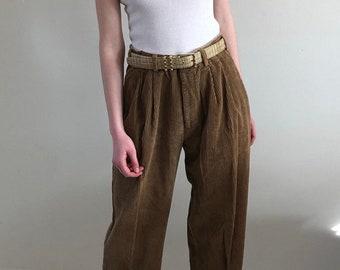 90a4fdc477050 80s corduroy high waisted pants   vintage tobacco pleated baggy corduroy  pants   Oleg Cassini caramel cotton wide wale cord pants