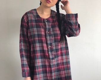 90s flannel night shirt   red plaid flannel nightgown night shirt oversized  boyfriend sleep lounge shirt   red plaid flannel henley pajamas f76a6f83b