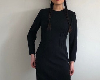 80s wool crepe dress   vintage wool dress   black crepe wiggle dress   long  sleeve wool dress vintage lbd  8de60a646