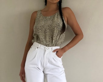 1b8e092992747 90s silk tank   vintage ecru + black floral silk crepe sleeveless blouse  tank