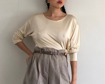 756b1b8f148626 80s silk jersey knit top   vintage French champagne pure silk jersey knit  scoop neck top   sheer silk knit long sleeve underwear tee T-shirt