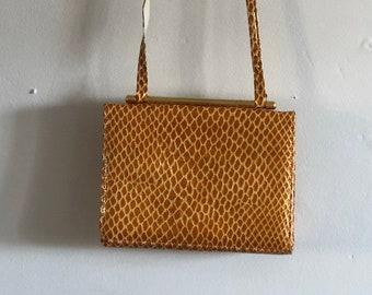 91a86165f3 90s Suart Weitzman snakeskin purse   vintage snakeskin patent leather  crossbody purse   gold caramel snakeskin long strap purse bag