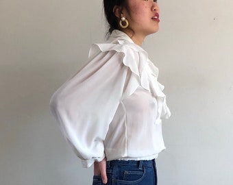 d0e3024aa5c50c 80s puff sleeve ruffle blouse   white ruffle collar sleeve flouncy blouse   sheer  white cropped delicate blouse