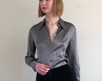 4ccddc07edc28d 90s silk charmeuse blouse / pewter gray liquid silk charmeuse silk shirt /  minimalist light gray satin silk blouse | XS S