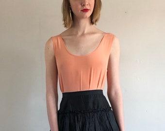 535a3d4c5830 90s silk tank / vintage peach silk sleeveless blouse top / simple  minimalist silk box tank | XS S