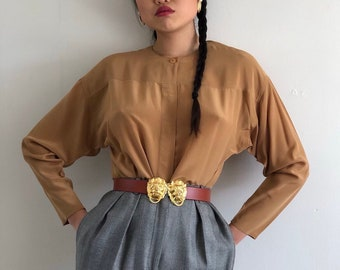 9811572214e0f5 80s Ellen Tracy silk blouse   vintage Ellen Tracy batwing sleeve tobacco  silk crepe collarless blouse