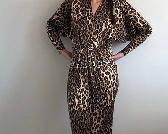 silk charmeuse cheetah wrap dress   80s plunging neckline batwing sleeve wrap  dress   belted dress   animal print silk dress  de981f052